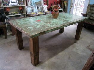 Perfect GREEN Dining Table made from Mesquite Doors imported from Mexico. Rustic with spice of & Perfect GREEN Dining Table made from Mesquite Doors imported from ...