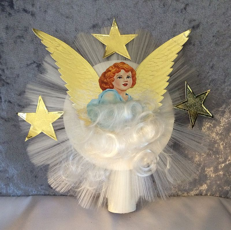 1950s Vintage Spun Glass Victorian Scrap Angel with Foil