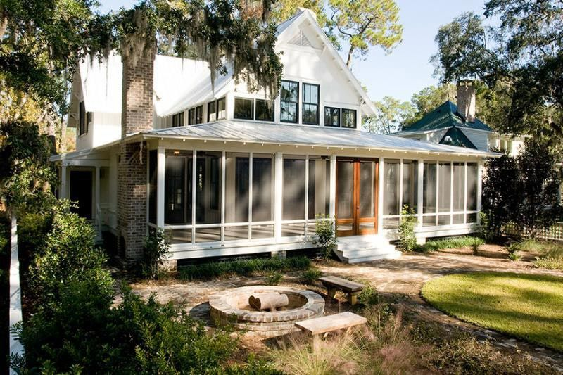 Traditional Cottage Home w Screened Wrap Around Porch HQ Plans &