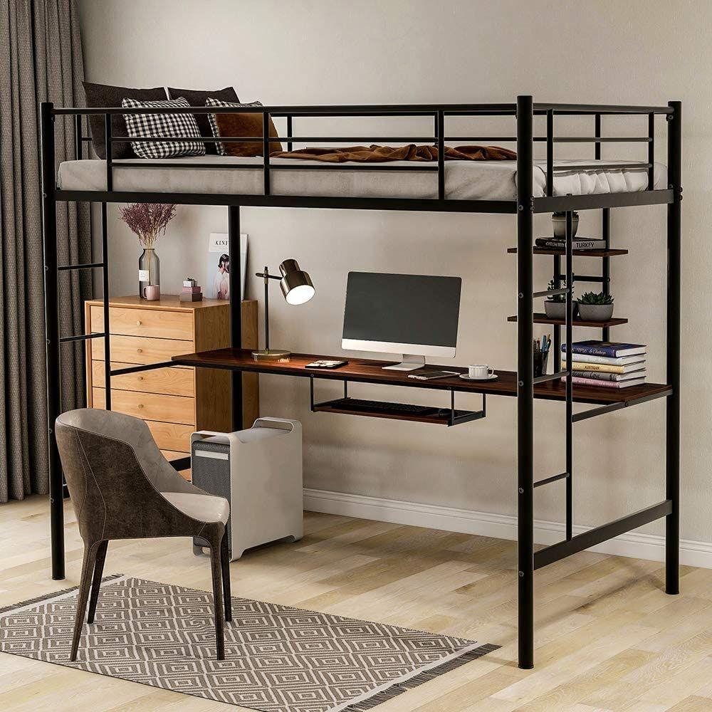 Loft Bed Desk Combo In 2020 Loft Bed Frame Twin Loft Bed Loft Bed