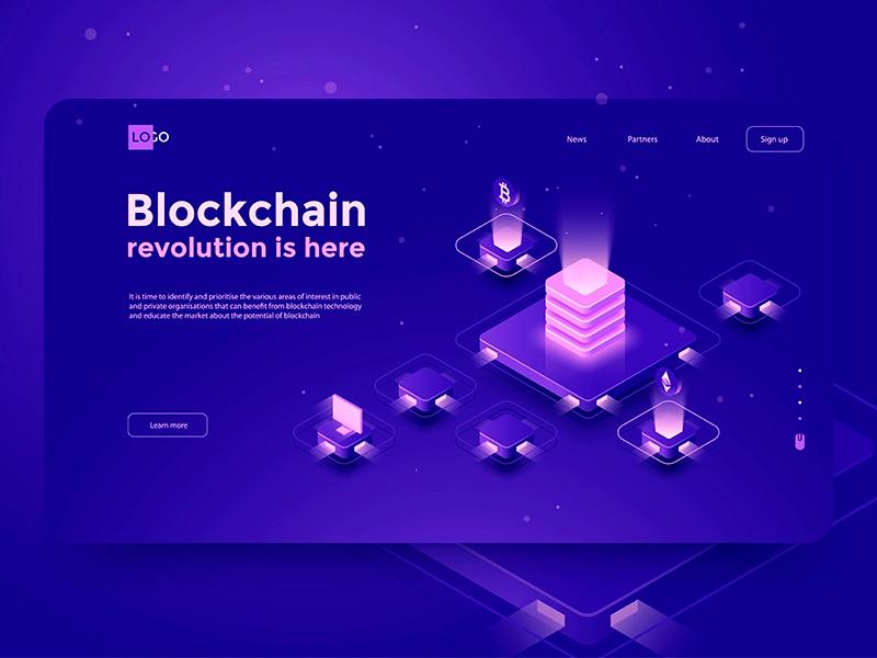 Blockshain Revolution Isometric Design Website Design News Web Design