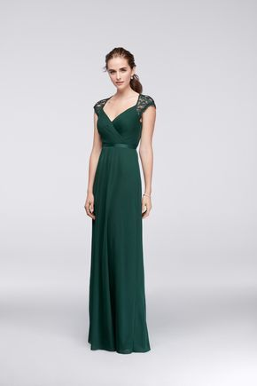 ab7def29d8c This color  Juniper Green Long Mesh Bridesmaid Dress with Lace Cap Sleeves  and Open Back by David s Bridal