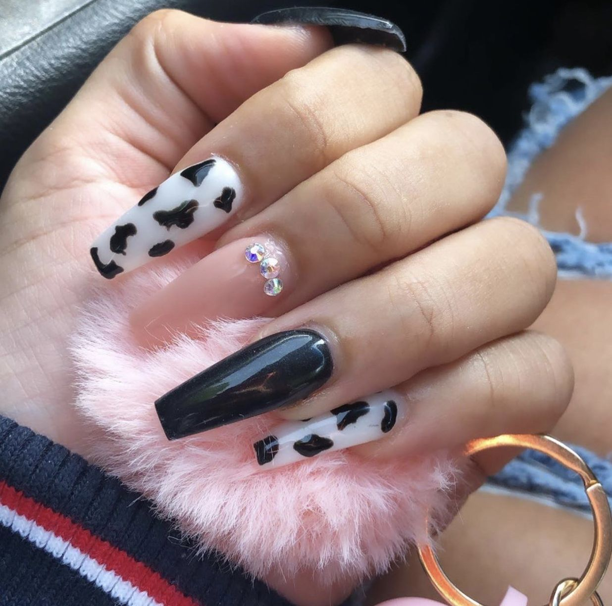 Cute Long Acrylic Coffin Acrylic Nails In 2020 Cow Nails Halloween Nails Best Acrylic Nails