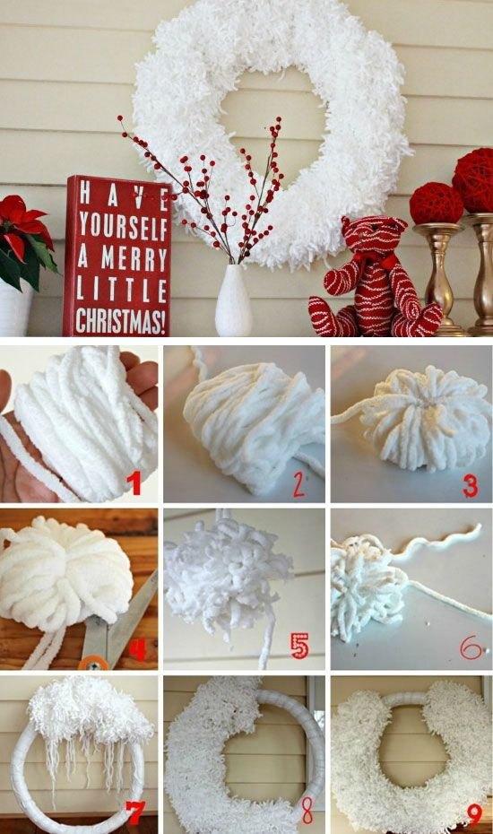 Anthropologie inspired 'wool' wreath Click for 25 DIY