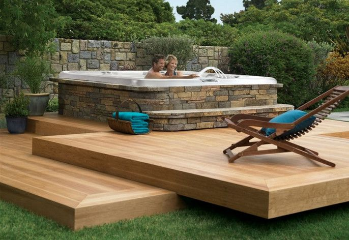Backyard deck ideas with hot tub hot tubs jacuzzis for Spa deck design