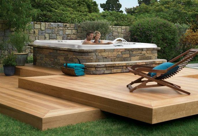 backyard deck ideas with hot tub | Hot tub backyard, Hot ...
