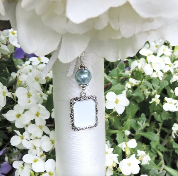 Wedding Bouquet Photo Charm With Slate Blue Shell Pearl And Small