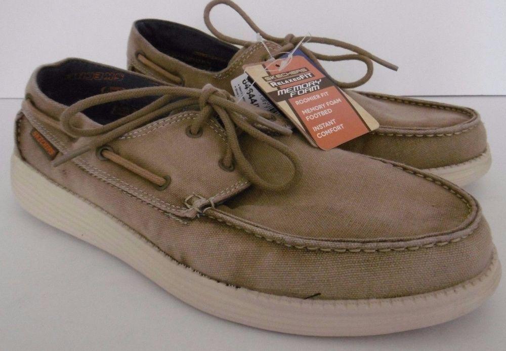 Mens Skechers Boat Shoes 9 Gel Infused Memory Foam Vintage Washed