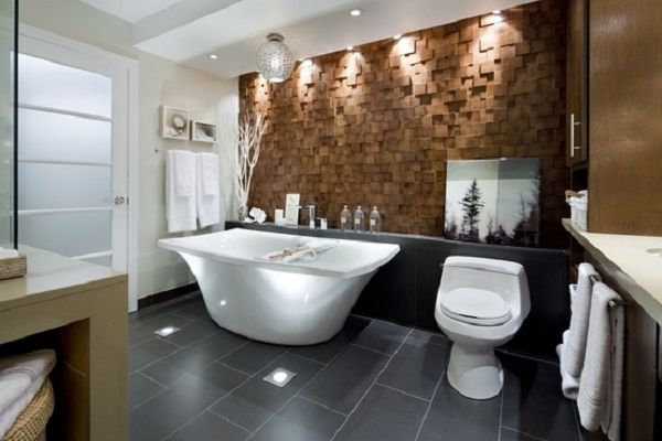 Gentil Bathroom Design, Gorgeous Candice Olson Bathroom Design With Stone Wall,  Sleek Bathroom, Frosted Doors And White Walls: Stylish And Beauty F.