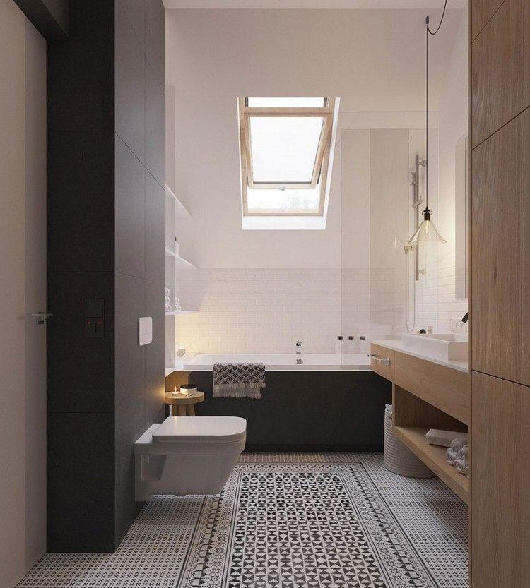 Skandinavisch Einrichten Badezimmer Dachfenster Badewanne Glastrennwand Skandinavisches Badezimmer Skandinavische Inneneinrichtung Badezimmer Design