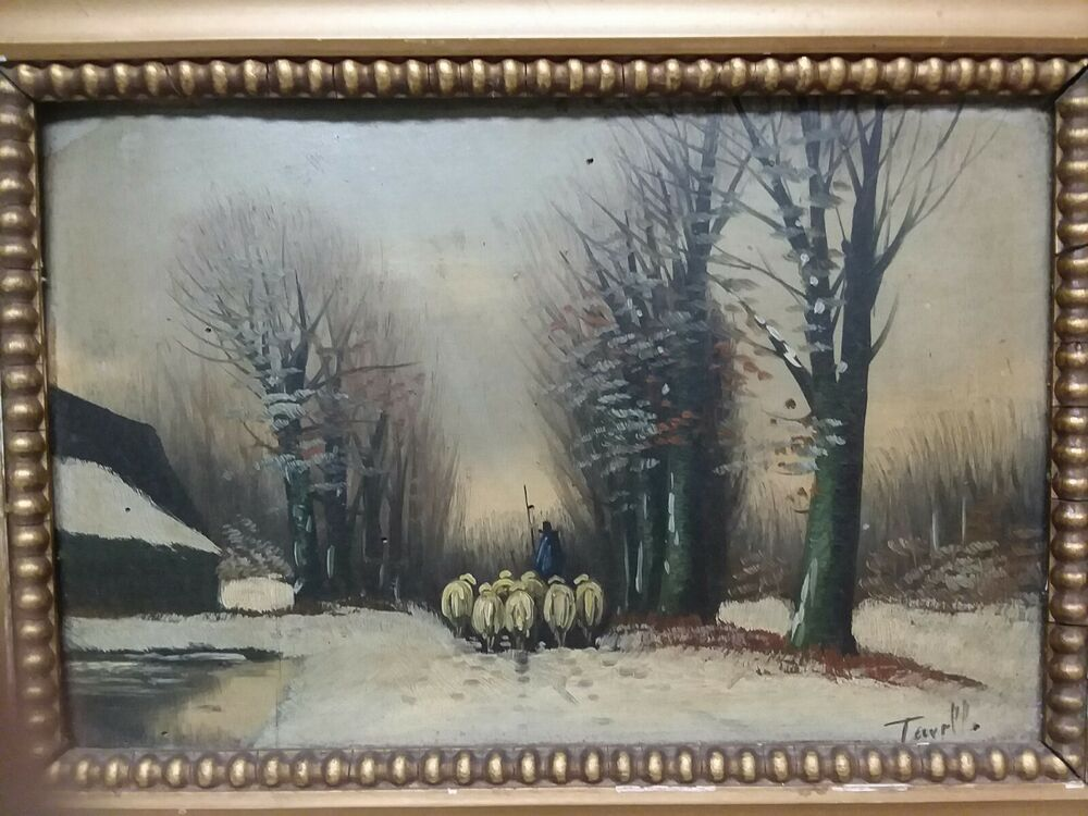 Vintage Oil Painting Sheep In Winter By Turell Sheep Painting