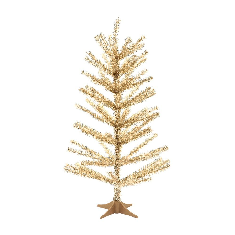 24in Mini Unlit Tinsel Christmas Tree Gold Wondershop Tinsel Christmas Tree Artificial Christmas Tree Holiday Party Decorations