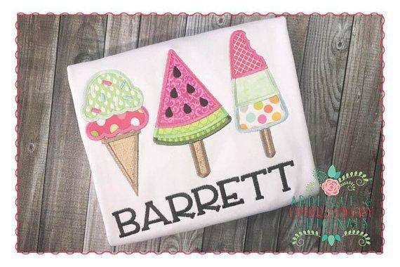 Applique and embroidery originals digital design ice cream