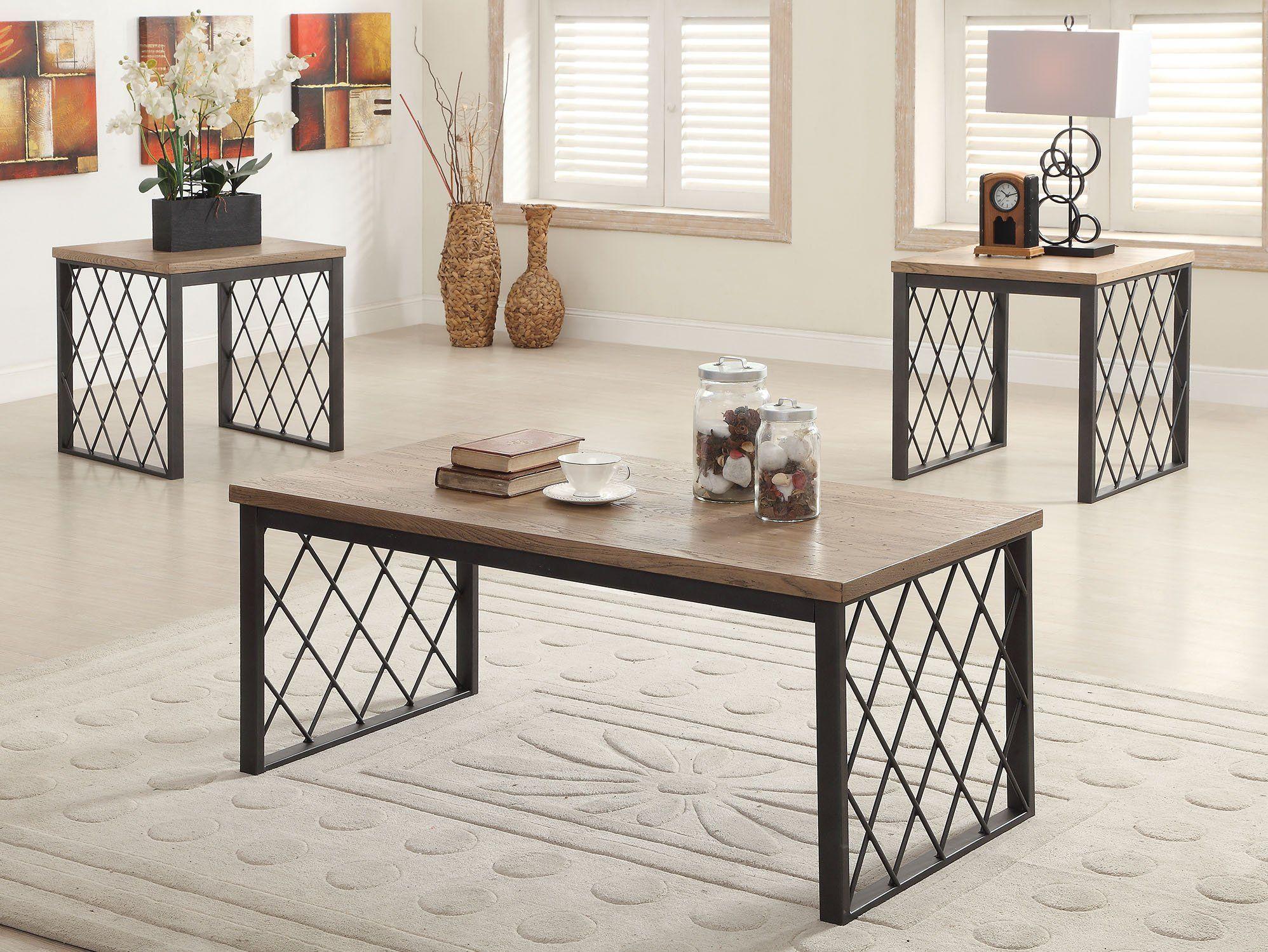 Acme Catalina Light Oak Gray Metal Finish 3 Piece Coffee Table Set