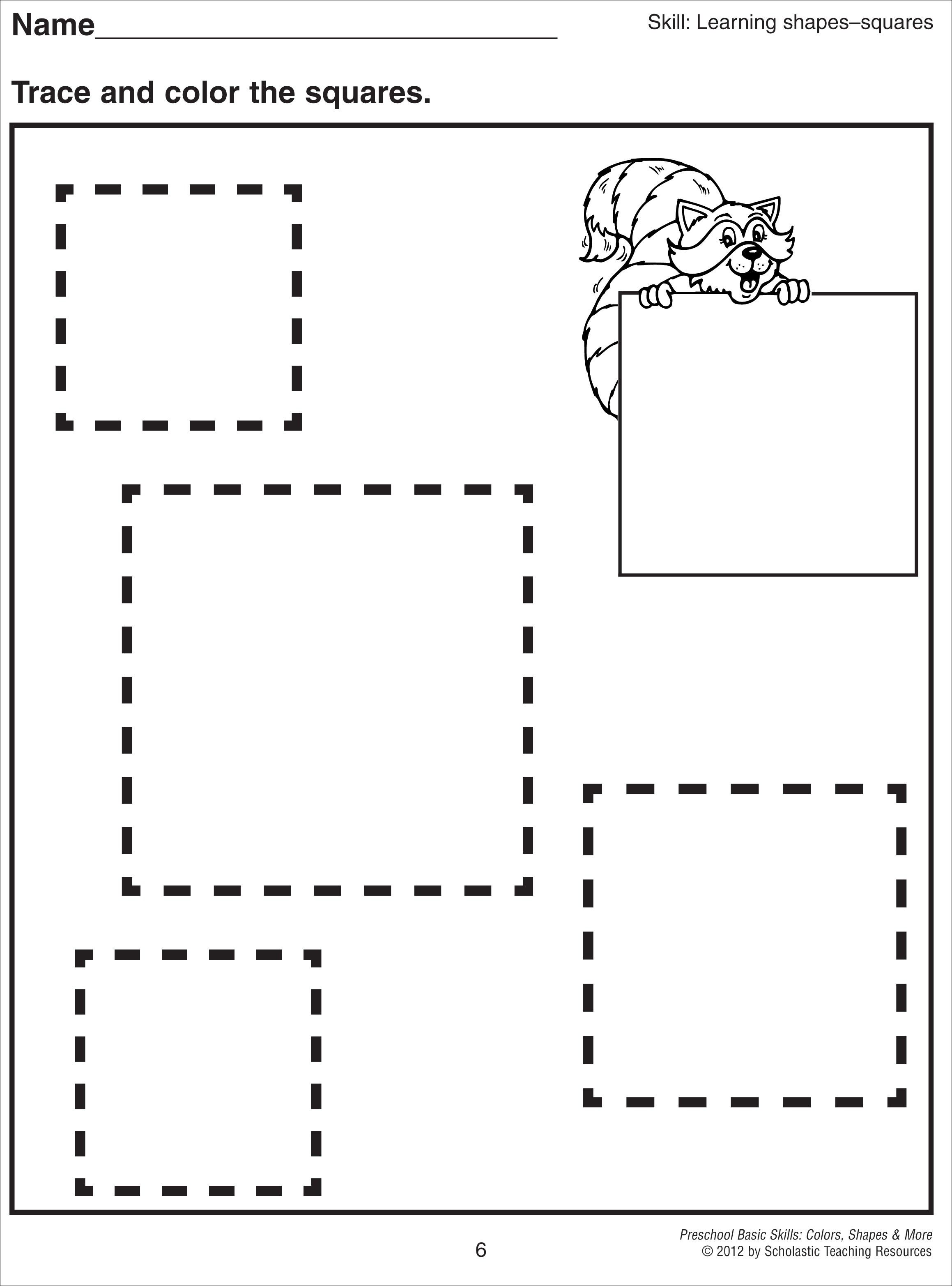 Square Tracing Worksheet Shapes and lines – Difference of Two Squares Worksheet