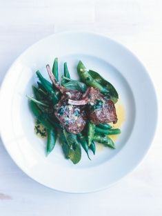 lamb cutlets with sugar snaps, green beans and parsley butter