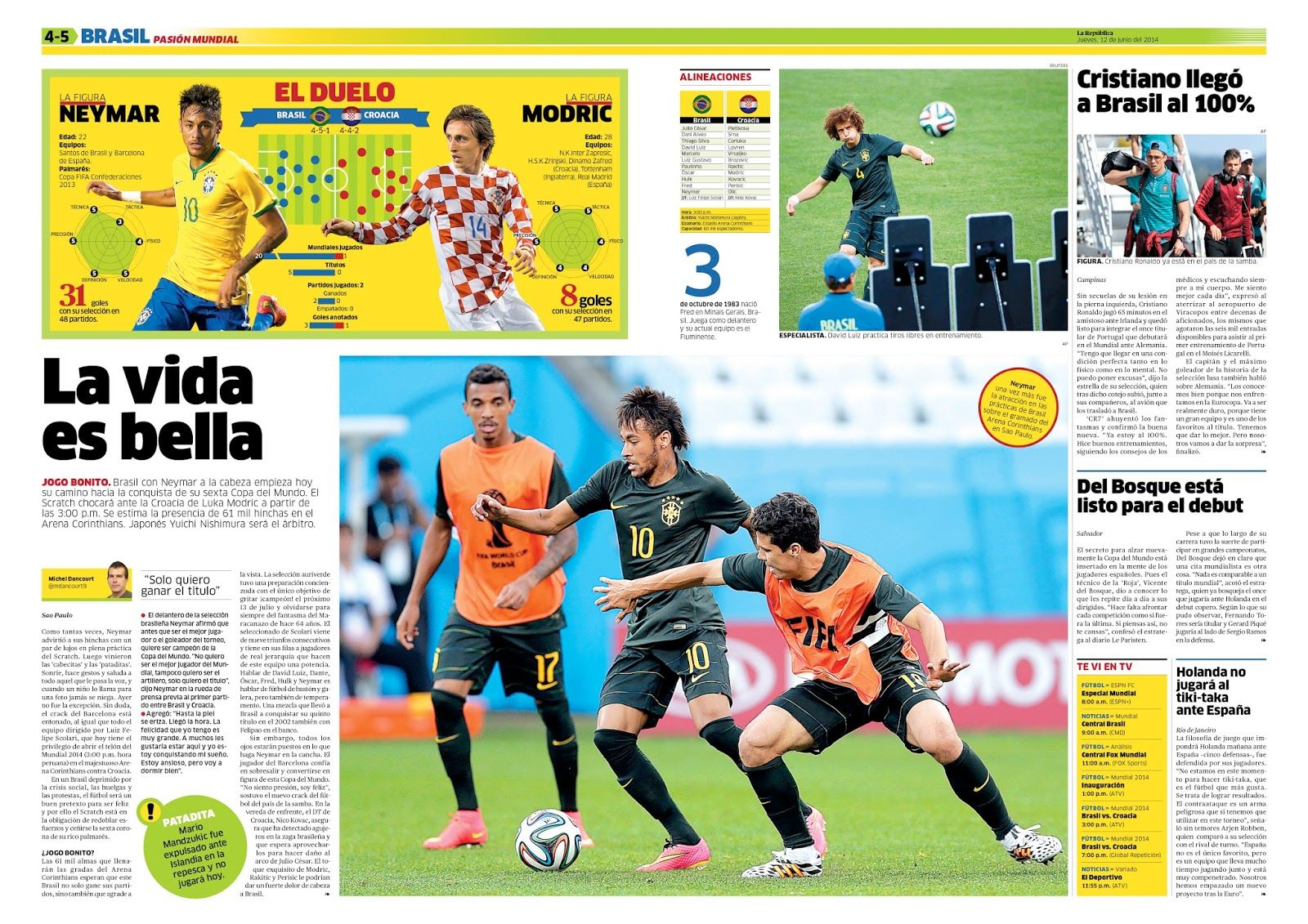 Hoy empieza el #Brasil2014. Este diseño lo hizo Augusto Nieves para el diario La República.