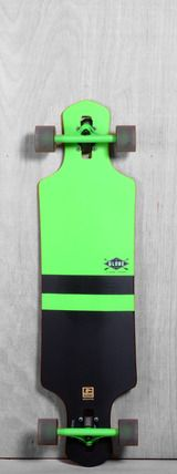 "Globe 38.5"" Geminon Longboard Complete - Fluorescent Green/Black  I've never had a globe board, but look at the trucks on this thing!!! <3"