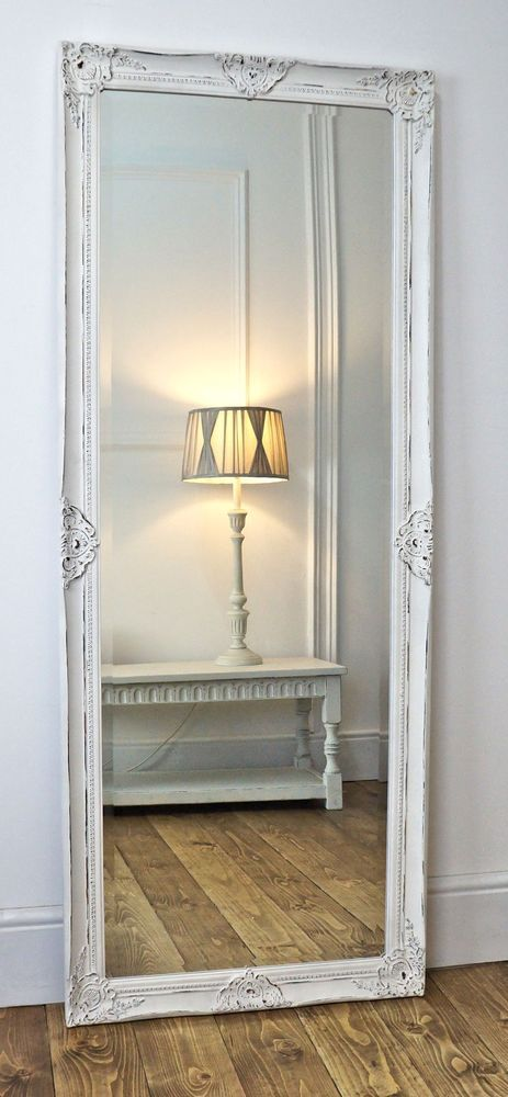 Gerona white shabby chic full length vintage dress mirror for Large bedroom mirror