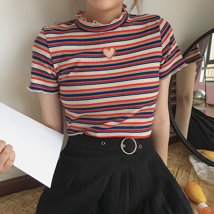 Heart Hole Stripes Vintage Style Crop Top In 2019 Things