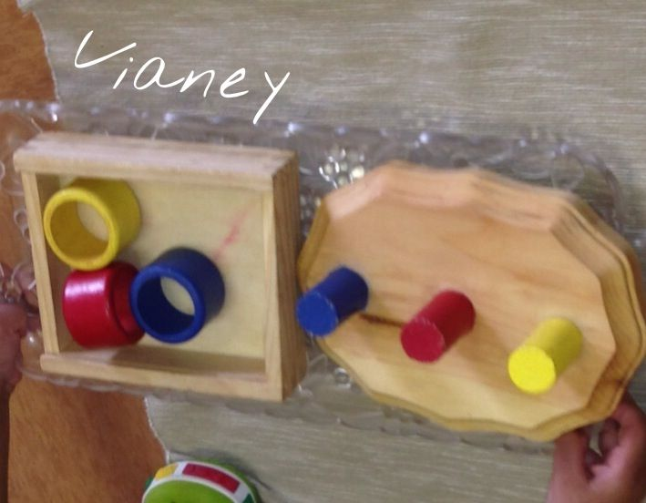 Montessori Infant Toddler Homemade Work Language Color Sorting Wooden Napkin Rings To 1 In Wooden Dow Montessori Toddler Montessori Baby Hobbies For Kids