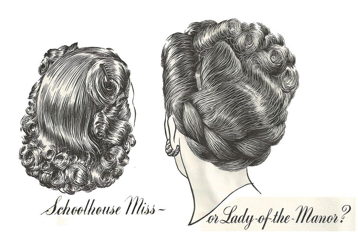 1940s hair illustrations, sketch, drawing. http://hair-and-makeup-artist.com/wordpress/wp-content/uploads/2012/01/1947-hair-2.jpg