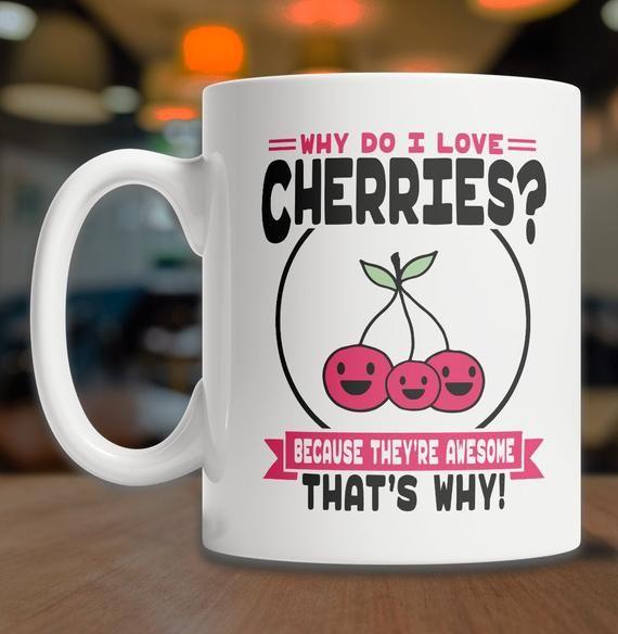 I Love Cherries Mug | Cute Cherry Mug | Cherry Coffee Mug | Cherry Lover Mug | Cute Cherry Gift Idea