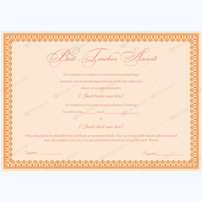 teacher certificate template - best teacher award 05 teacher