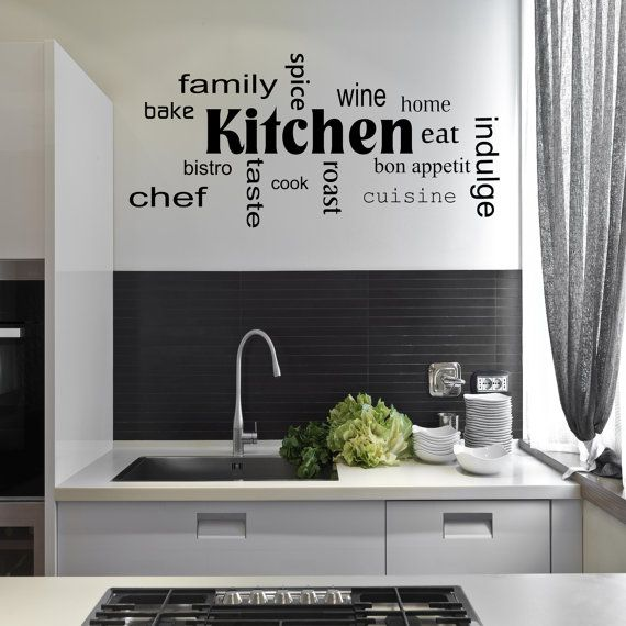 Kitchen Words Phrases Wall Art Sticker Room Lounge Quote Decal Mural Stencil Transfer Wall Stickers Kitchen Words Kitchen Stickers Wall Phrases