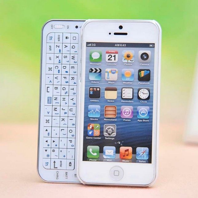 Cool White Sliding Bluetooth Wireless Keyboard Case Cover For Iphone 4/4s/5