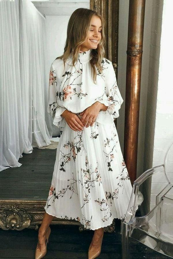 Photo of Clamez Elegant Floral Prairie Long Sleeve Flowing Casual Midi Dress