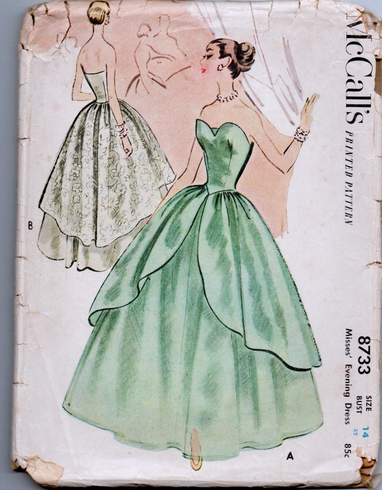 Vintage Sewing Patterns for Voluptuous Evening Dress of Earlier Eras