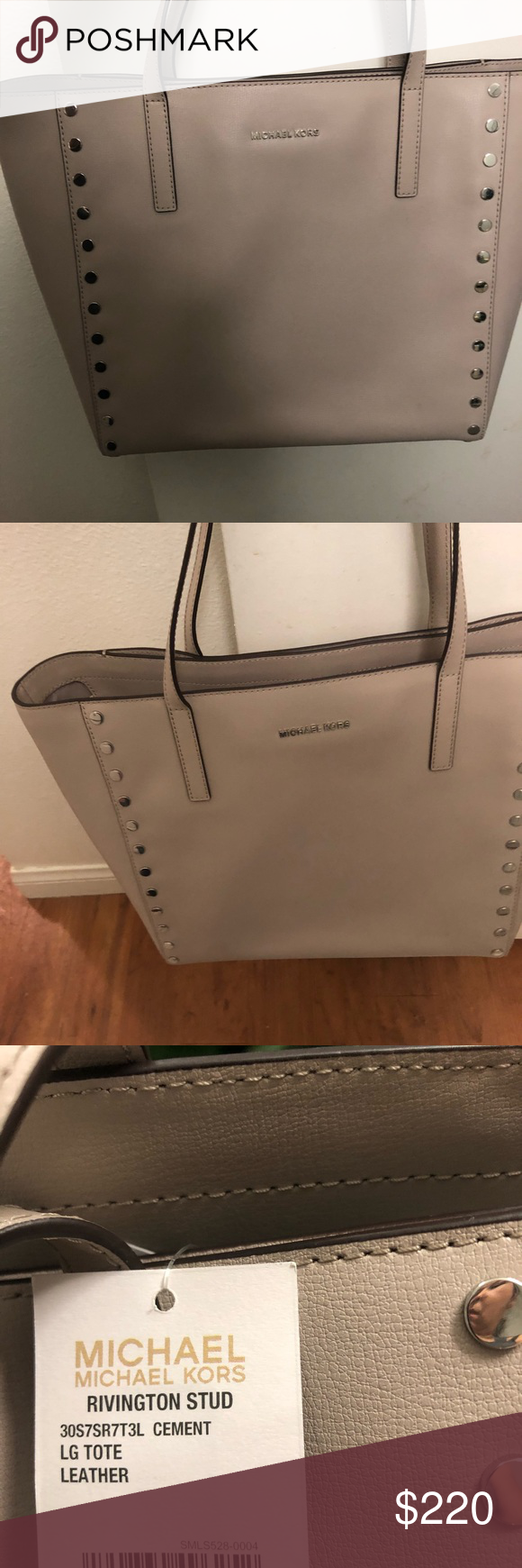 148f8a5dfcad New large Michael kors rivington stud Large cement rivington leather tote  Michael Kors Bags Totes