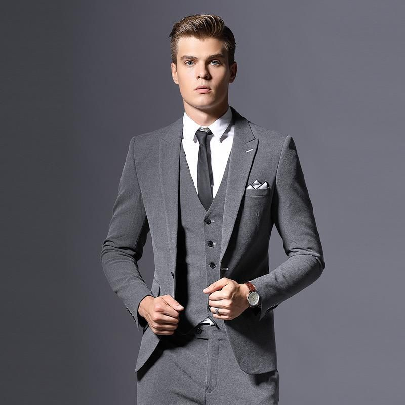 MLT Mens Black Three Pieces Groom Best Man Bussiness Suits