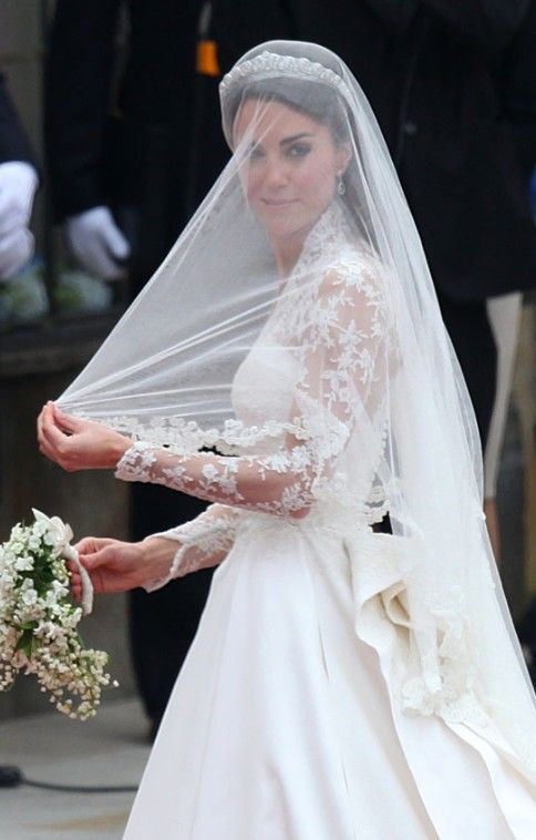 Kate Middleton With Veil On Her Wedding Day July