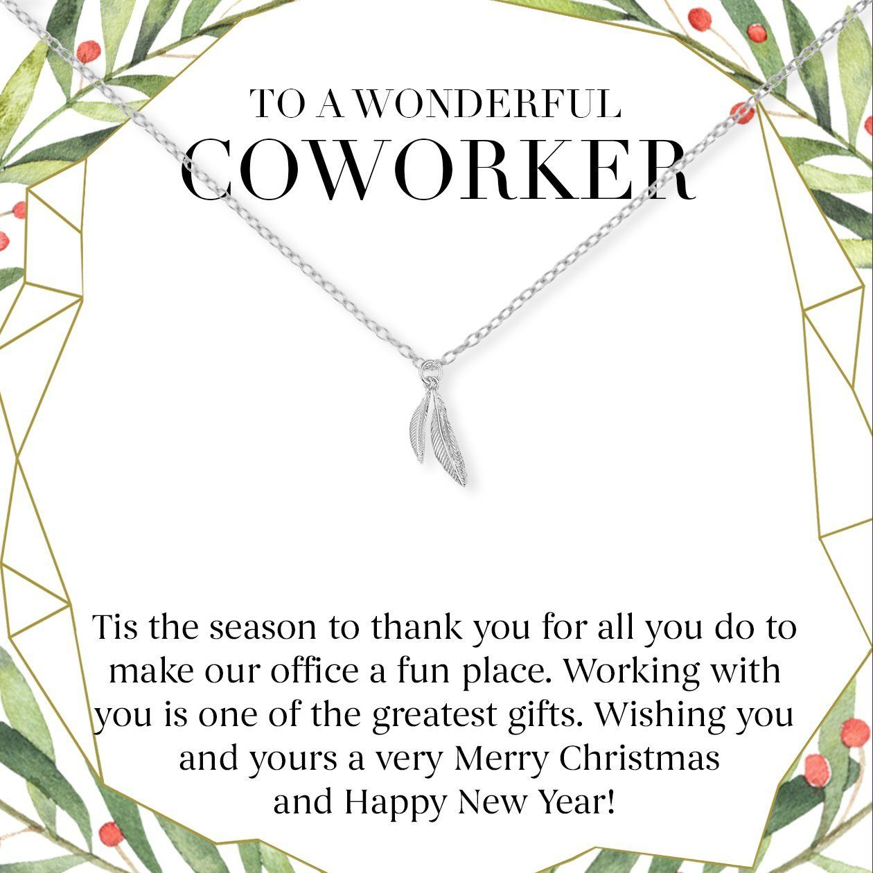 Christmas Gift for Coworker Two Feathers Necklace