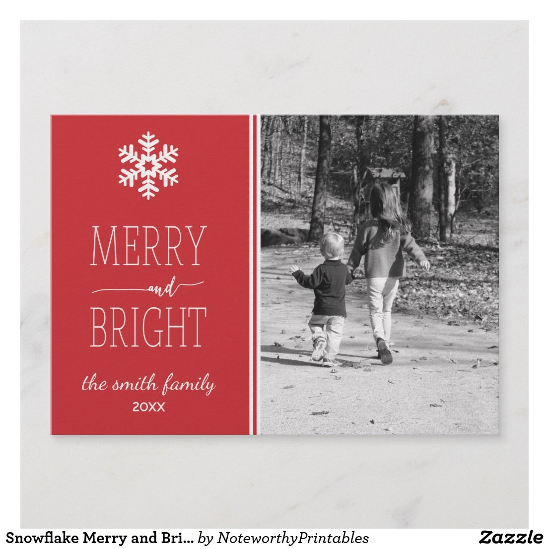 Snowflake Merry and Bright Christmas Card in 2018 | { Happy Holidays ...