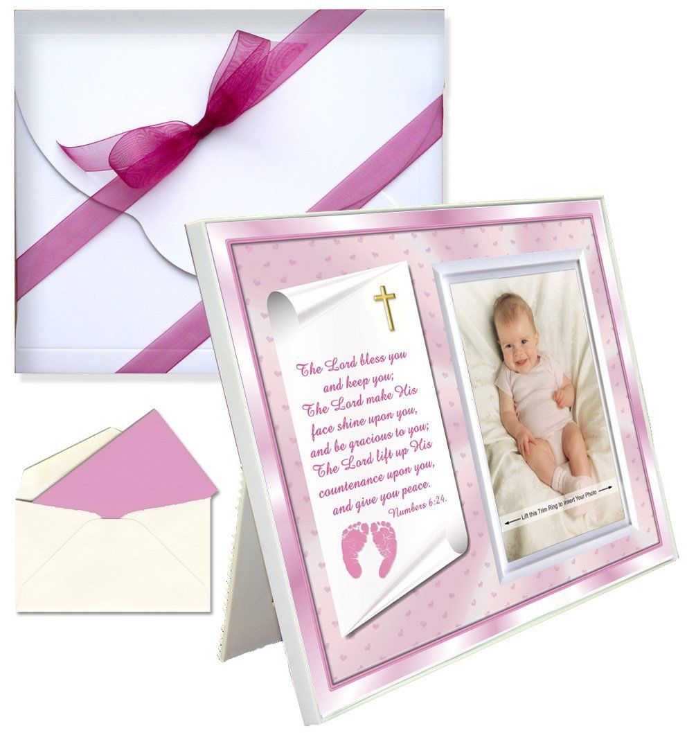 Affordable Pink Frame Blessings Theme Colorful Dedication Gift for Baby Girl Cute Picture Frame Innovative Front-Load Design Holds a 3.5 x 5 Photo