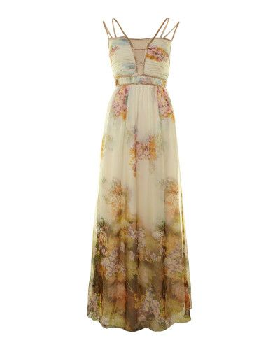 ca6eb7225834 Little Mistress | Beige Floral Maxi Dress | Lyst | ART APPRECIATION ...
