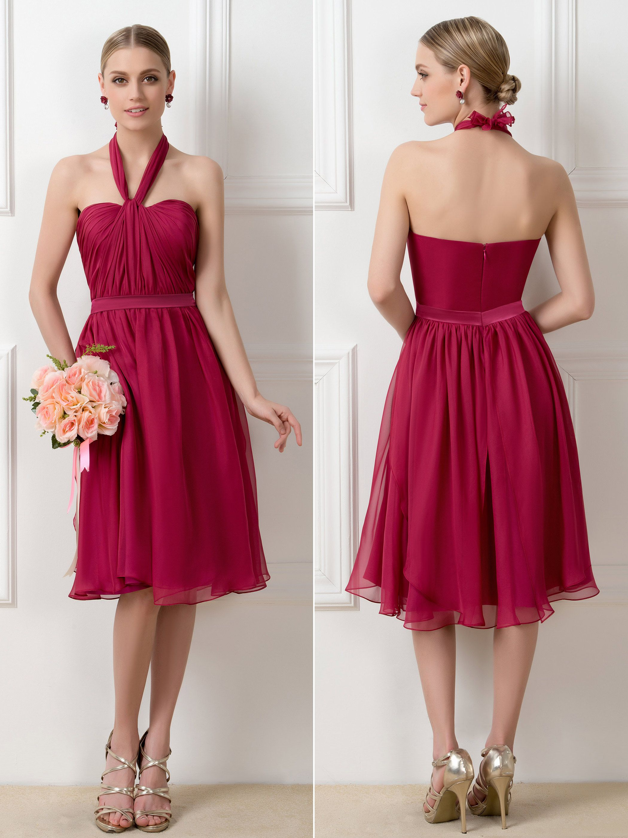 98c5f901737b A-Line Tea-Length Convertible Short Bridesmaid Dresses | TBdress ...