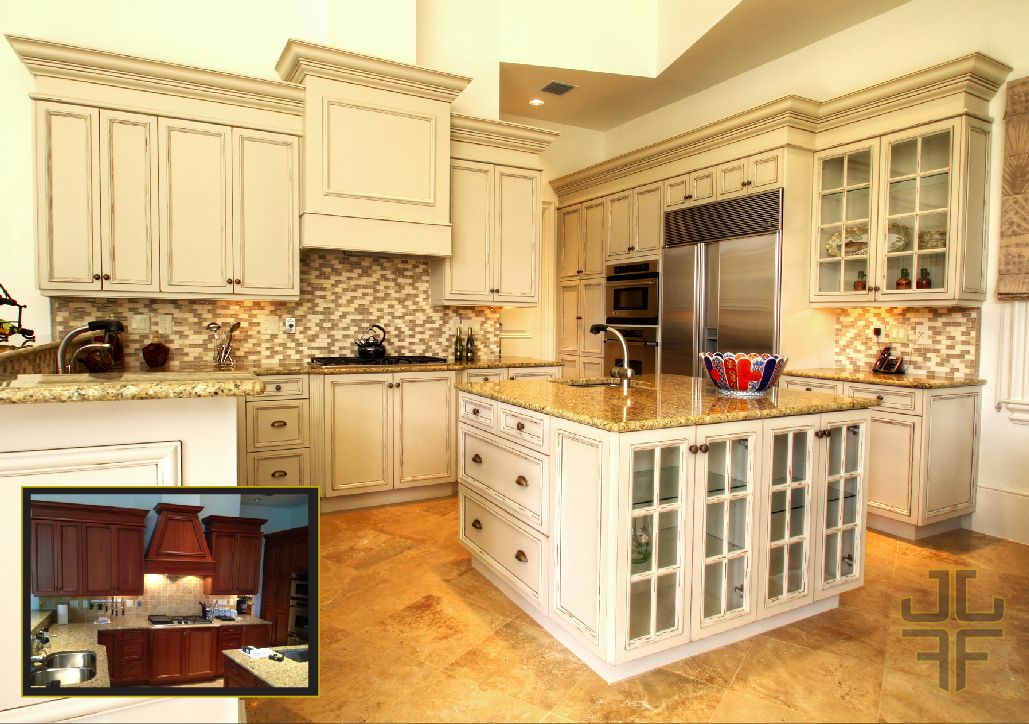 Before and after - painted kitchen with distressing and ...