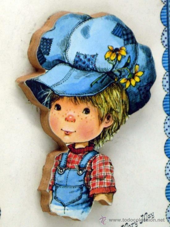 Cuadro Niño con gorro Mary May marquetería años 80 con caja nuevo