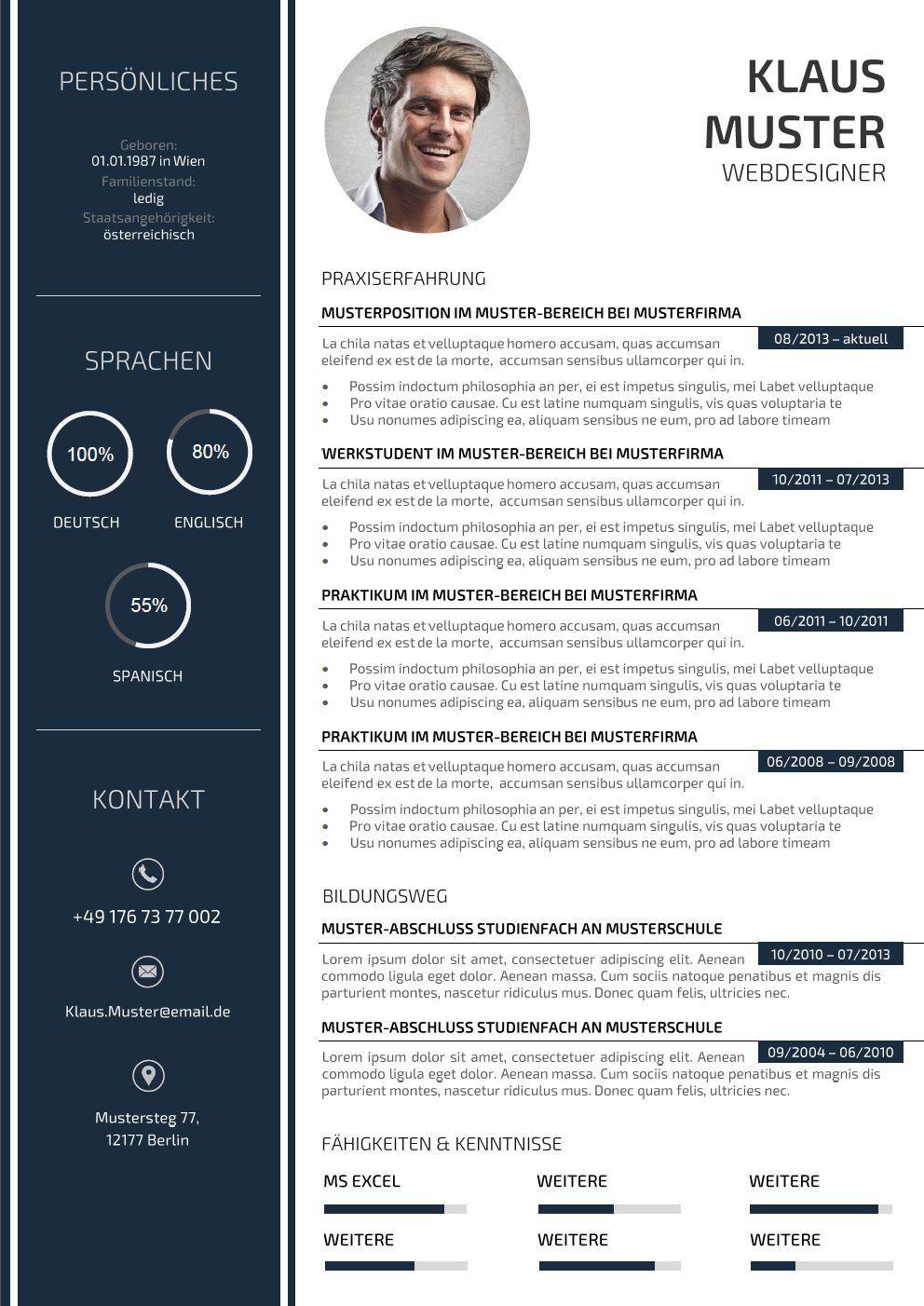 Premium Bewerbungsmuster 3 - Lebenslauf Designs | Para crear ...