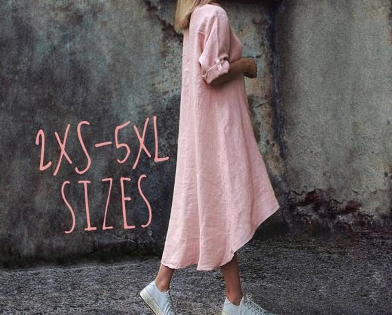 Linen maxi shirt dress, linen tunic, linen blouse, beach cover up Long pink Linen shirt for women, P #linentunic