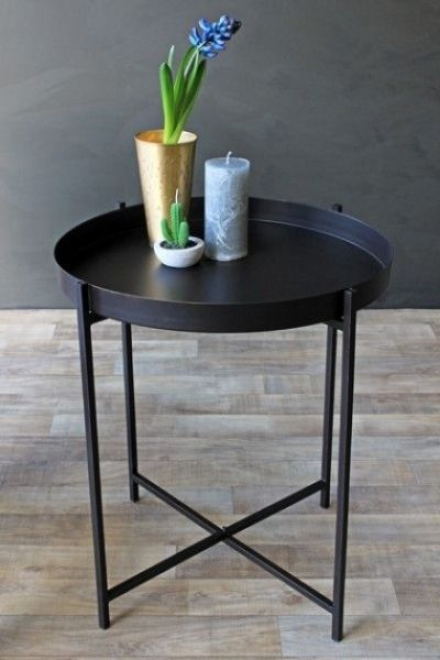 Black Metal Bedside Tables: Round Traditional Black Paint Effect Metal Side Table