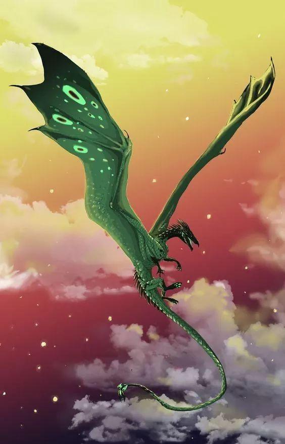 緑のドラゴンが飛んでいる壁紙