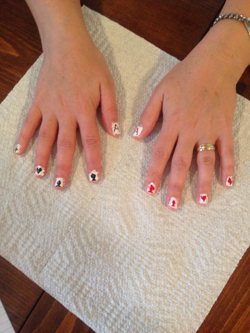 Playing card nails I did for my mom | Nail Art | Pinterest | Playing ...