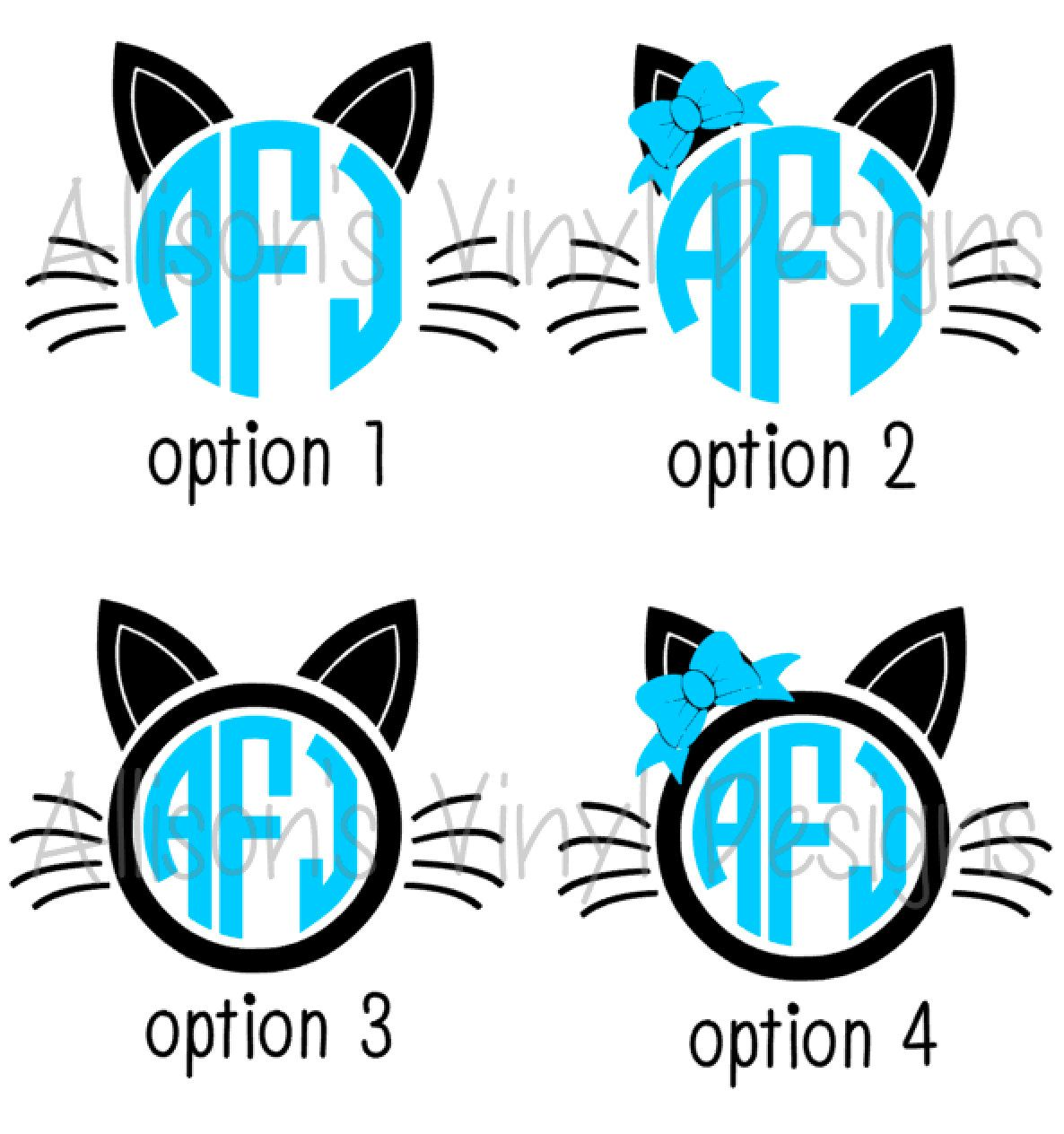 Cat Monogram Decal Monogram Cat Decal Monogram Car Decal - Vinyl decal cat pinterest