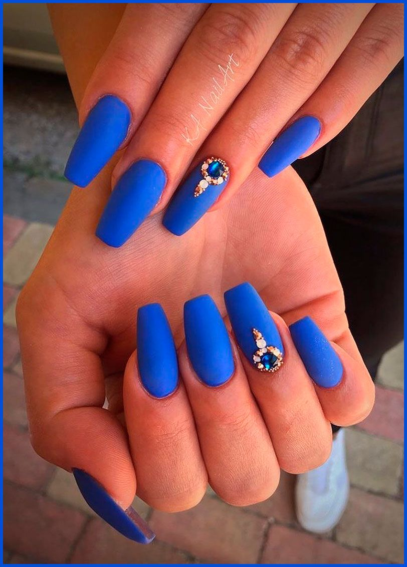 Cute Matte Royal Blue Coffin Nails With Rhinestones Blue Coffin Nails Pink Glitter Nails Nails
