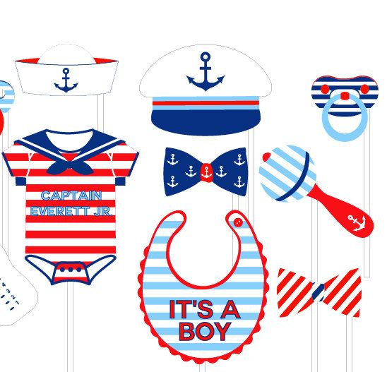 Nautical Baby Shower Photo Booth Props Personalized